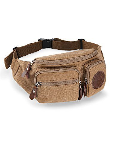 Muzee Mens Canvas Waist Pack Running Sling Backpack Crossbody Bag Fanny Packs