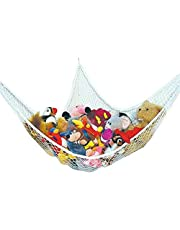 Toy Hammock Large Soft Mesh Net Nursery Furniture Products with 3 Sticky Hooks for Keeping The Children's Room Clean and Tidy