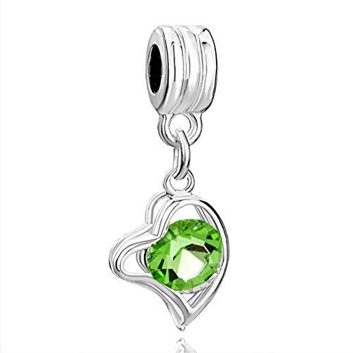 RUBYCA 5Pcs Heart Dangle Pendant Charm Beads Crystal Rhinestone European Bracelet Peridot Green