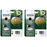 Epson T1291 Schwarz Doppelpack = x2 T1291 Black Ink Cartridge