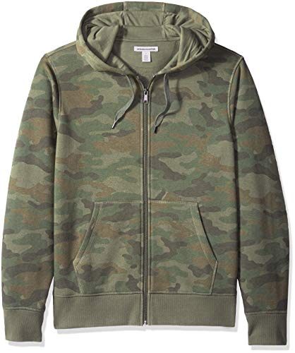 Amazon Essentials Men's Patterned Full-Zip Hooded Fleece Sweatshirt, Camo, Large