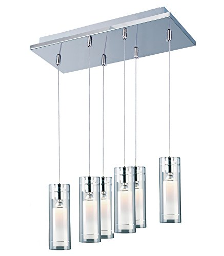 ET2 E22002-10 Frost 6-Light Linear Pendant, Polished Chrome Finish, Clear/White Glass, MB PAR20 Halogen Halogen Bulb, Dry Safety Rated, 3000K Color Temp., Standard Dimmable, Crystal Shade Material, 6400 Rated -