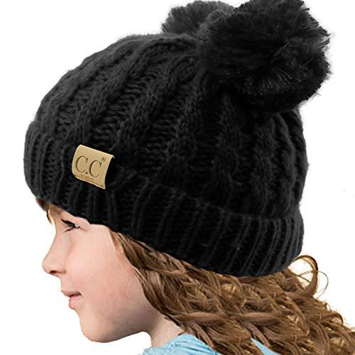 5690c49cebe3e Kids CC Ages 2-7 Pom Pom Ears Chunky Thick Stretchy Knit Soft Beanie Hat
