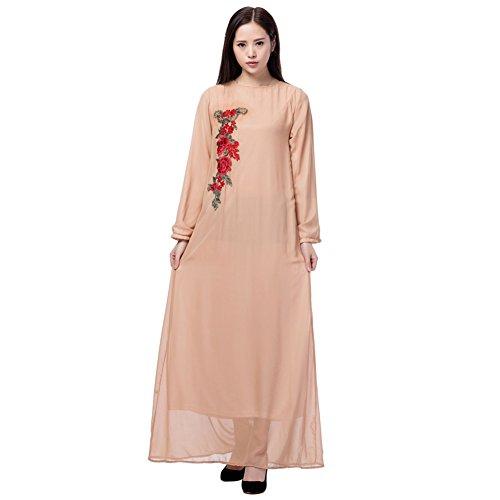 Mariage Musulmane Mousseline Marron Broderie Robe Fleurs Cocktail Islamique Longues Manches Ete Longue Robe Femme Robe Dress Kaftan Dubai Abaya Robes Hougood Maxi Robe wvI4q4U