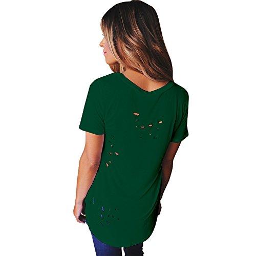 Magliette Camicetta Top Donna Verde Casual Sciolto Camicia Gyratedream V Manica Benda Maglia Corta Cross Girl T Holes Scollo a Shirt Sexy Estive Tee Ripped dBTqTCw