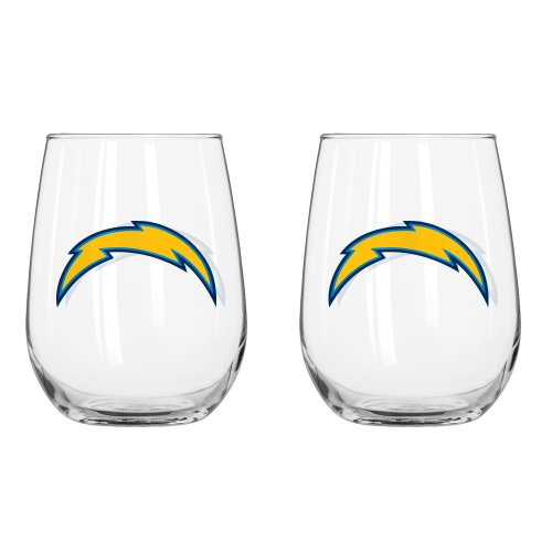 NFL San Diego Chargers Curved Beverage Glass, 16-ounce, 2-Pack ()