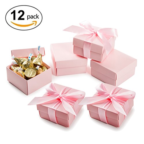 Pink Favor Boxes (Candy Gift Boxes with Lids and Ribbon Candy Favor Box 2.5x1.5x2.5 inch, Pink, Pack of 12)