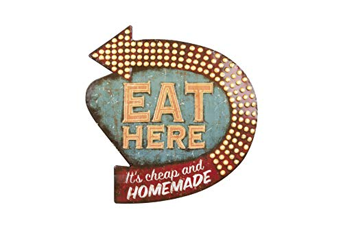 Creative Co-op Eat Here Tin Retro Wall Decor ()
