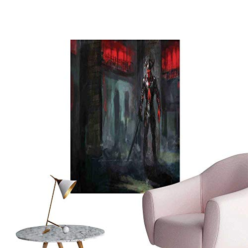 Camerofn Fantasy World Stickers Wall Murals Decals Removable Fictional Reverent Character in Fire Temple Dark Gothic Demonic Devil Print Stair Elevator Side Grey Red W20 x H28