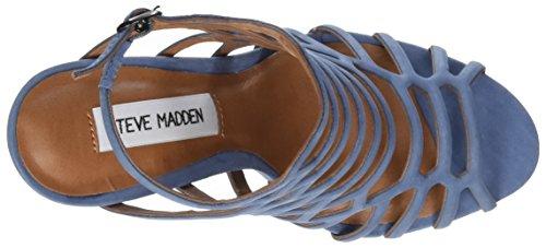 Steve Madden Slithur Sandal, Sandalias de Punta Descubierta para Mujer Azul (Light Blue)