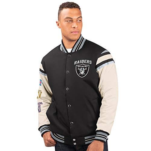 G-III Sports Oakland Raiders Men's 3 Time Super Bowl Champions Victory Formation Varsity Jacket (Large)