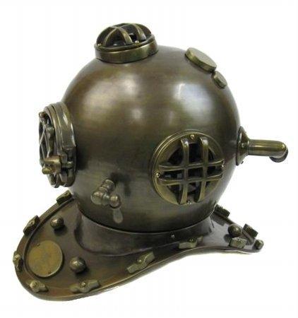EcWorld Enterprises 88A5525LA Full Size Reproduction U.S. Navy Mark-V Bronze Aluminum Diving Helmet by ecWorld Enterprises by ecWorld Enterprises
