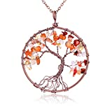 Handmade Semi Precious Natural Tumbled Red Agate Stone Tree of Life Multicolor Crystal Pendant Necklace Healing Wire Wrapped Family Root Tree of Life Gemstone Jewelry Gift for Friend Women Girl