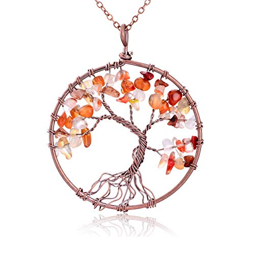 (Handmade Semi Precious Natural Tumbled Red Agate Stone Tree of Life Multicolor Crystal Pendant Necklace Healing Wire Wrapped Family Root Tree of Life Gemstone Jewelry Gift for Friend Women Girl )