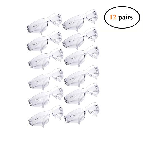 Golden Scute ANSI Z87.1 Wide Safety Glasses with UV Protection, UV Resistant, Clear Lenses, Lightweight (Pack of 12)