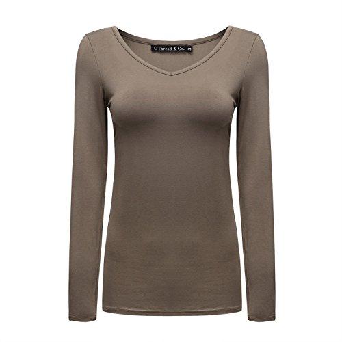 OThread & Co. Women's Long Sleeve T-Shirt V-Neck Basic Layer Spandex Shirts (Small, Coffee) ()