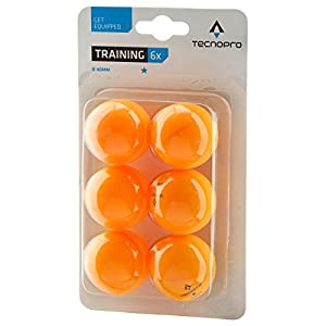 Tecnopro Tischtennis-Ball 1-Stern Training Tischtennisball, Orange, One Size