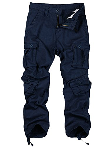 Toomett Men's Casual Loose Wild Multi-Purpose 8 Pocket Military Cargo Work Pants #6057/Blue/US (Knee Pocket Canvas Pant)