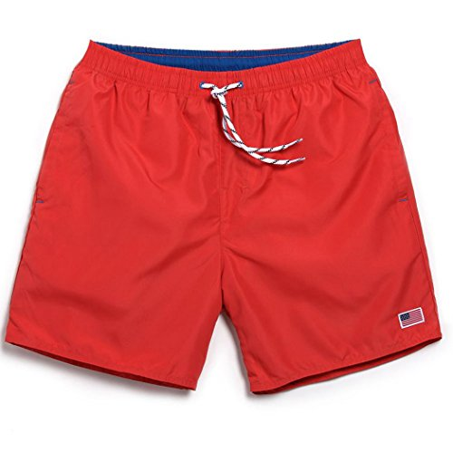 Threelove Men's Quick Dry Beach Shorts with Pockets Shorts Swim Trunks for Surfing Running Swimming Watershort Red M
