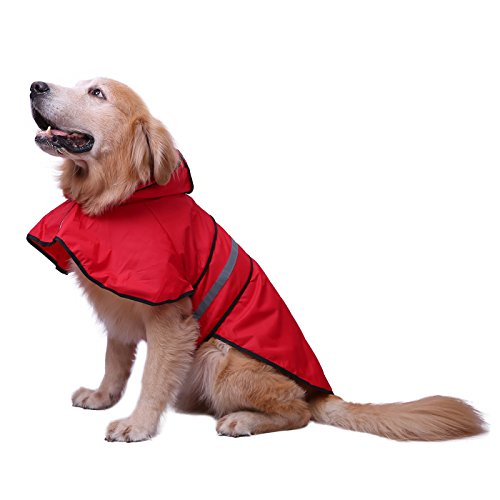 HDE Dog Raincoat Hooded Slicker Poncho for Small to X-Large Dogs and Puppies (Red, Large) -