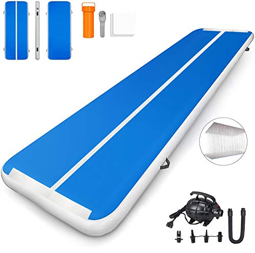 CAISHA Premium Air Track 10ft 13ft 16ft 20ft Airtrack Gymnastics Tumbling Mat Inflatable Tumble Track with Air Pump for Gym Yoga/Training/Cheerleading/Outdoor/Beach/Park