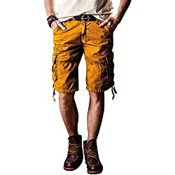 Mens Cargo Shorts 100% Cotton Flat Front Casual Shorts with Pockets