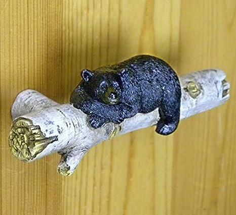 Black Bear on Birch Log Resin Drawer Pull Set of 6 Home Decor Supply 021-12588
