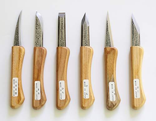 Yataro Japanese Blue Steel Wood Carving Knife Set 6 piece