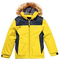 Wantdo Boys Waterproof Ski Jacket Winter CoatHooded Rainwear with Reflective Stripe