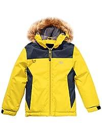 Wantdo Boy's Waterproof Ski Jacket Winter Coat Hooded Rainwear with Reflective Stripe