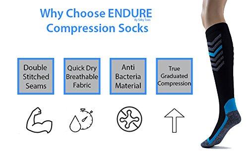 Silky Toes Compression Socks for Men & Women (20-30 mmHg) Athletic Fit for Running, Nurses, Shin Splints, Flight Travel & Maternity Pregnancy (Multi Pack- Grey/Blue/Black, Medium) by Silky Toes (Image #5)