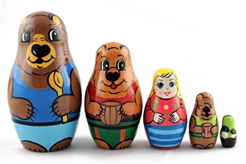 Matryoshka Matrioska Babuska Russian Nesting Wooden Doll Goldilocks and The Three Bears Matreshka Babooshka 5 Pc Stacking Hand Painting Matriosjka Matrioska Matreshka Matrjoska Matroeska from MATRYOSHKA&HANDICRAFT