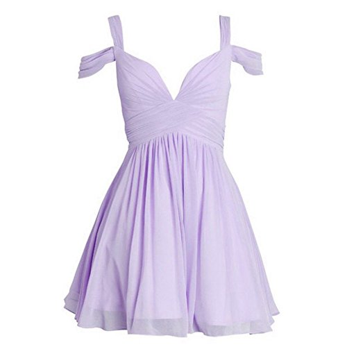 Elley Women's A Line Chiffon V-Neck Straps Ruched Bodice Short Homecoming Dress Mini Party Gown Light Purple (Ruched Bodice Gown)