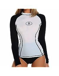 FITTOO Women's SPF40 Long Sleeve Rash Guard Athletic Shirt Tops Basic Swimwear