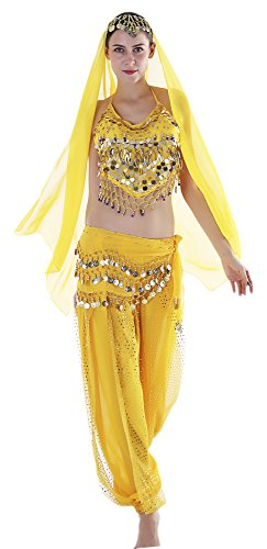 Indian Costumes Female (Seawhisper Yellow Adult Indian Costumes Arabian Women Costume Belly Dancing Outfit Top Veil Pants)