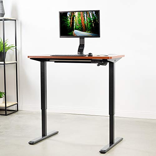 VIVO Electric 43 x 24 inch Stand Up Desk, Dark Walnut Solid One-Piece Table Top, Black Frame, Height Adjustable Standing Workstation with Memory Preset Controller (DESK-KIT-1B4D)