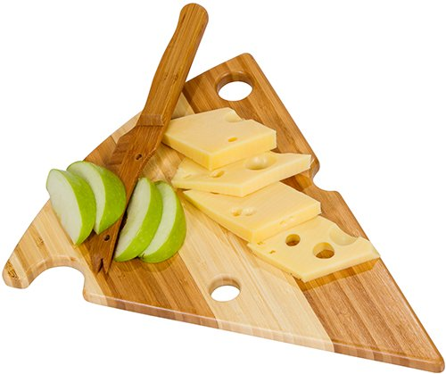Picnic Plus Bamboo Cheese Wedge Cutting Board With Matching Bamboo Knife