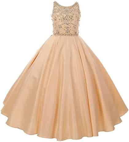 40a5650e36a Cinderella Couture Big Girls Champagne Beaded Dull Satin Tulle Junior  Bridesmaid Dress 8-16