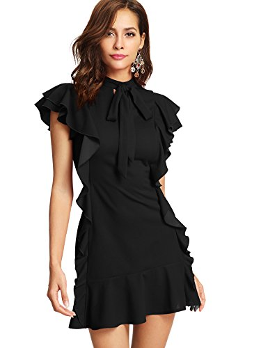 Floerns Women's Tie Neck Ruffle Hem Short Cocktail Party Dress Black M
