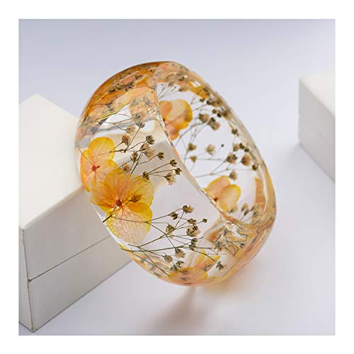 IDesign Jewelry Gift for Mother's Day Nature Dry Flower Resin Plastic Bracelet Bangle for Women Girls in Spring Summer (Orange)