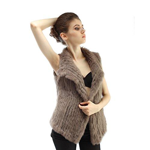 Abrigos tejido de la piel de conejo del invierno para mujeres caqui