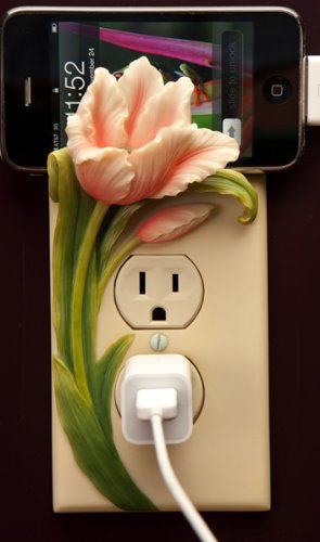Tulips Hand Painted Electric Outlet Cover Sculpture By Ibis & Orchid Designs