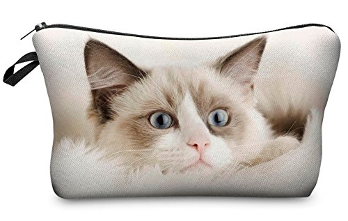 StylesILove Cute Graphic Pouch Travel Case Cosmetic Makeup Bag (Beige Cat)