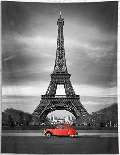 LB Eiffel Towel Vintage Car Tapestry Wall Hanging Romantic French Paris Landmark Tapestry Travel Wall Tapestry Art Poster Decoration for Living Room Bedroom College Dorm,92x 70.5 Inches