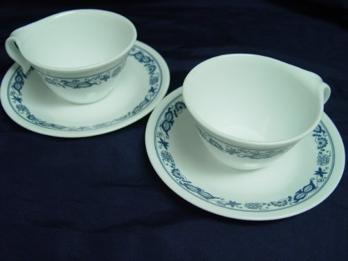 (Set of 2 Blue Onion Old Town Corelle Hook Handled Coffee Cups and 2)