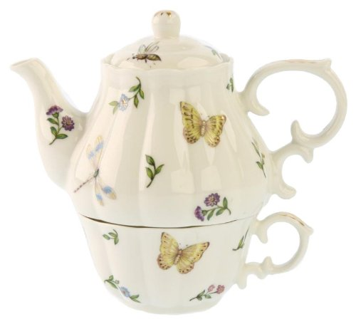 Gracie China Olivia's Dragonflies 3-Piece Porcelain Tea For One, Stacked Teapot and Cup