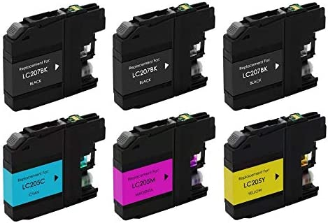 SuppliesMAX Compatible Replacement for Brother DCP-J4120//MFC-J4320//J4420//J4620//J4625DW High Yield Inkjet Combo Pack 3-BK//1-C//M//Y LC-2073BK1CMY
