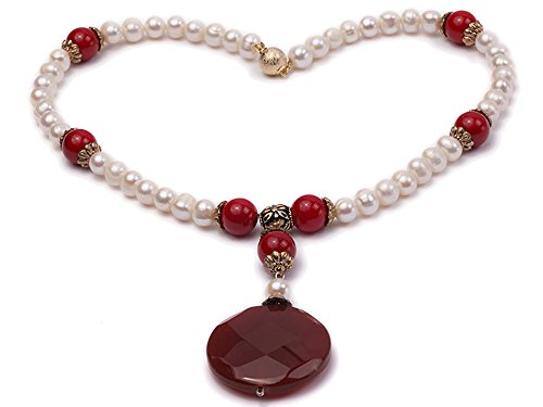 JYX Pearl Red Agate Pendant 8-9mm White Freshwater Pearl and 12mm Red Coral Beads Necklace 18