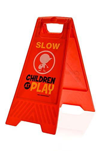 Children at Play Slow Sign for Yards and Driveways (Double-Sided, Red) -