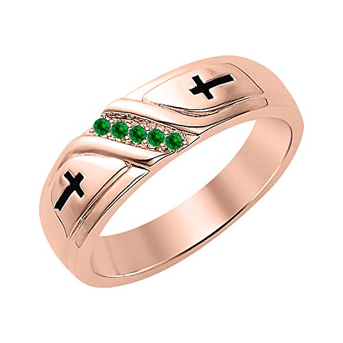 SVC-JEWELS Wedding 5-Stone Men's Cross Ring Green Emerald 18K Rose Gold Over .925 Sterling Silver